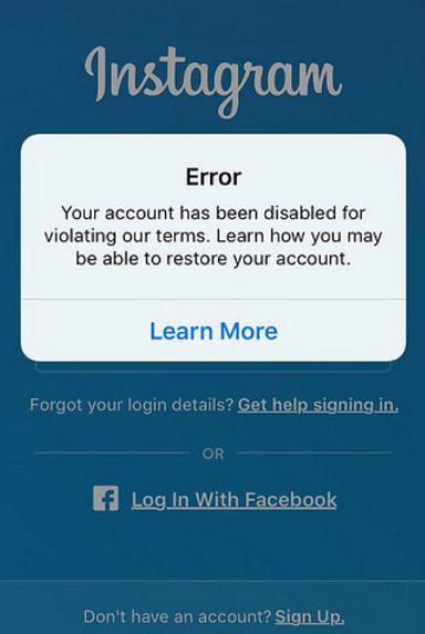 instagram帐户禁用错误