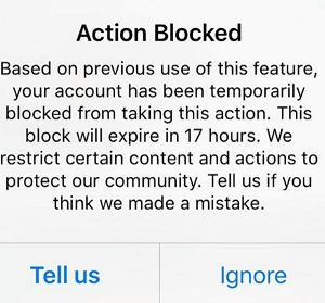 instagram动作被阻止