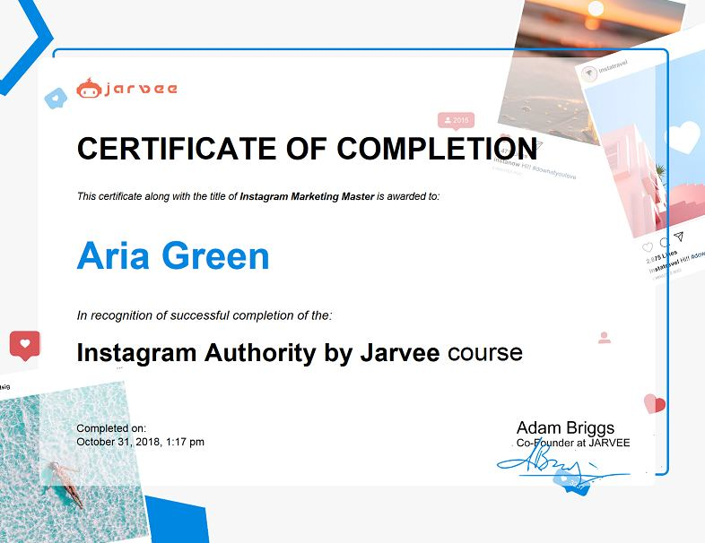 certificate of completion of instagram authority by jarvee course example